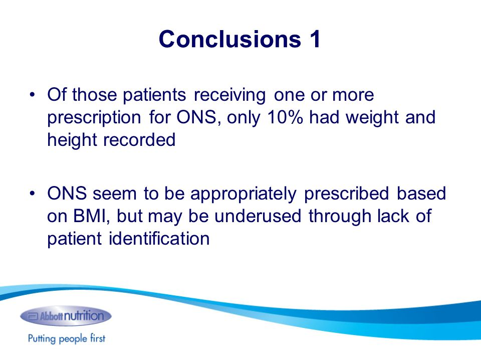 Conclusions 1 Of those patients receiving one or more prescription for ONS, only 10% had weight and height recorded.