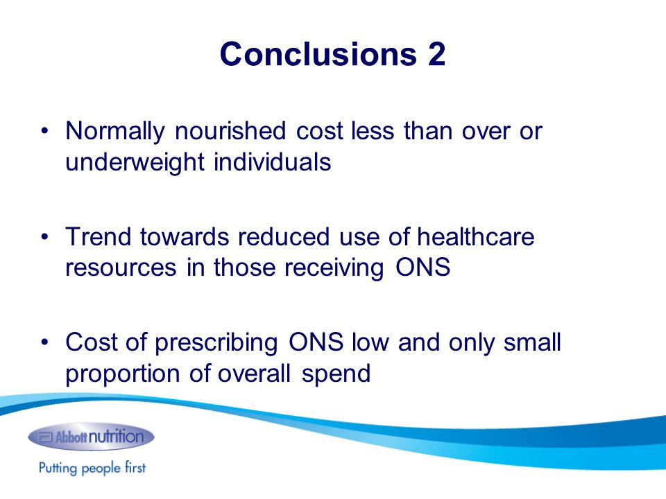 Conclusions 2 Normally nourished cost less than over or underweight individuals.