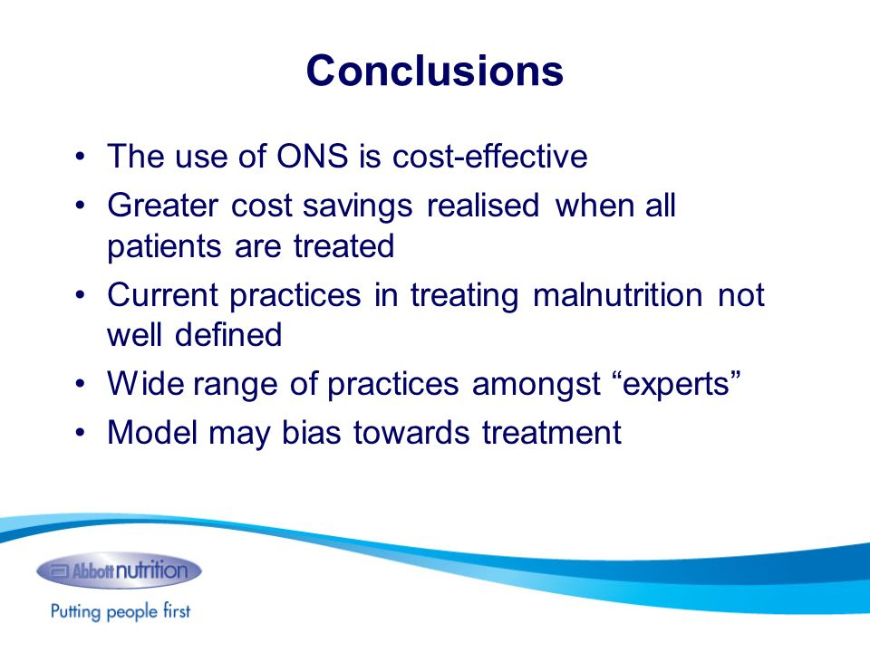 Conclusions The use of ONS is cost-effective