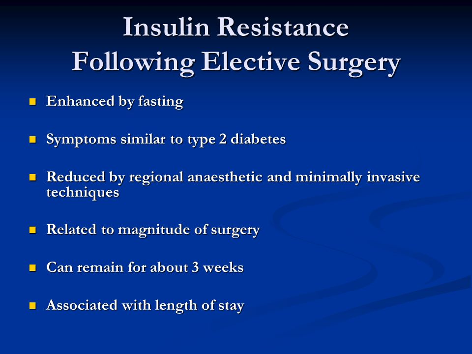 Insulin Resistance Following Elective Surgery
