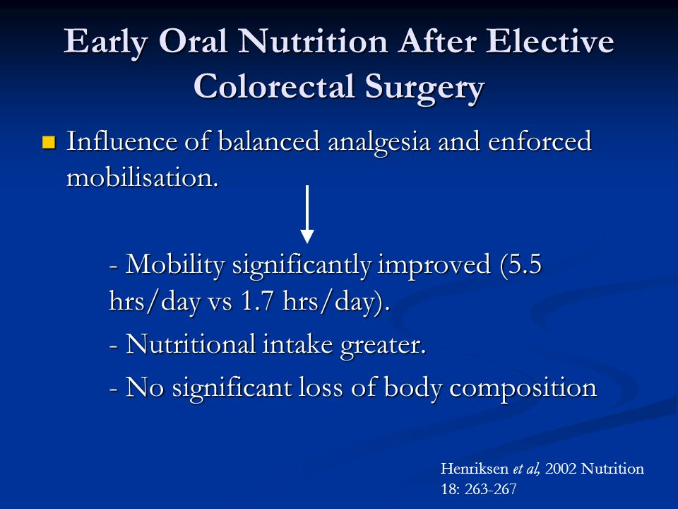 Early Oral Nutrition After Elective Colorectal Surgery