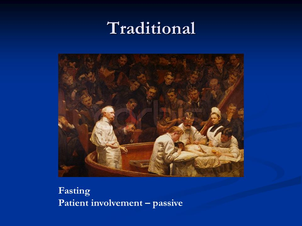 Traditional Fasting Patient involvement – passive