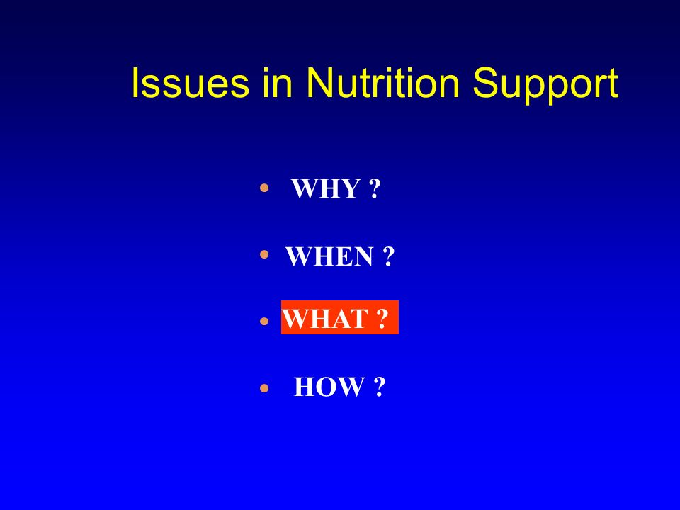 Issues in Nutrition Support