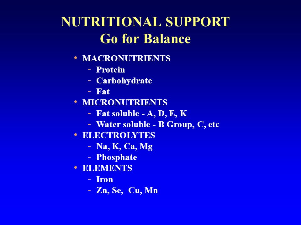 NUTRITIONAL SUPPORT Go for Balance