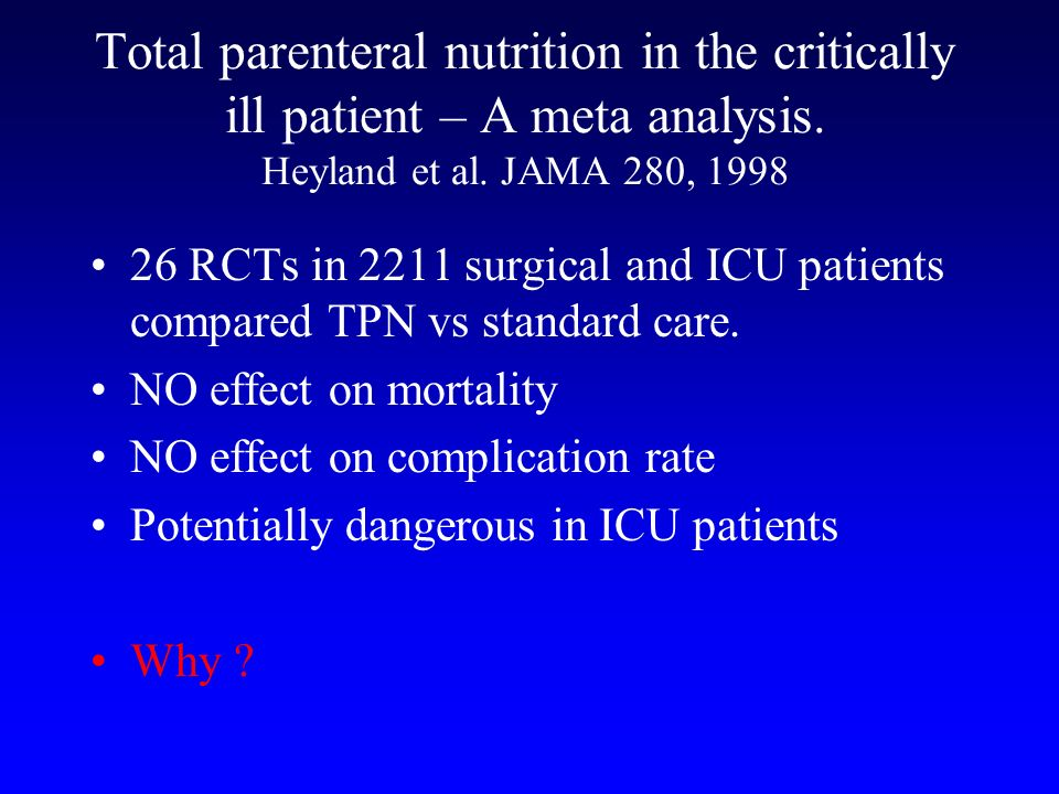 Total parenteral nutrition in the critically ill patient – A meta analysis. Heyland et al. JAMA 280, 1998