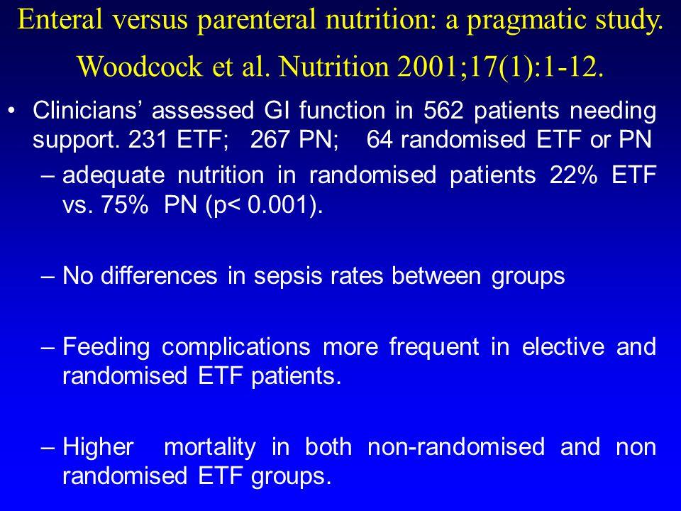 Enteral versus parenteral nutrition: a pragmatic study. Woodcock et al