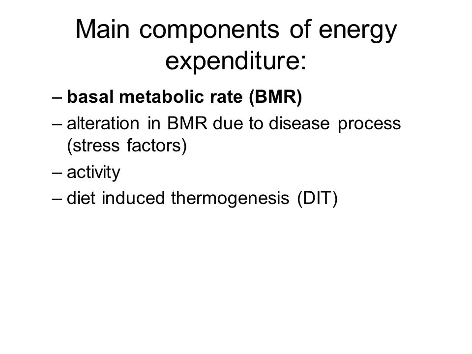 Main components of energy expenditure:
