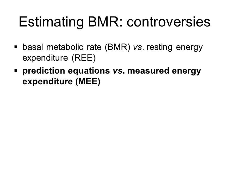 Estimating BMR: controversies