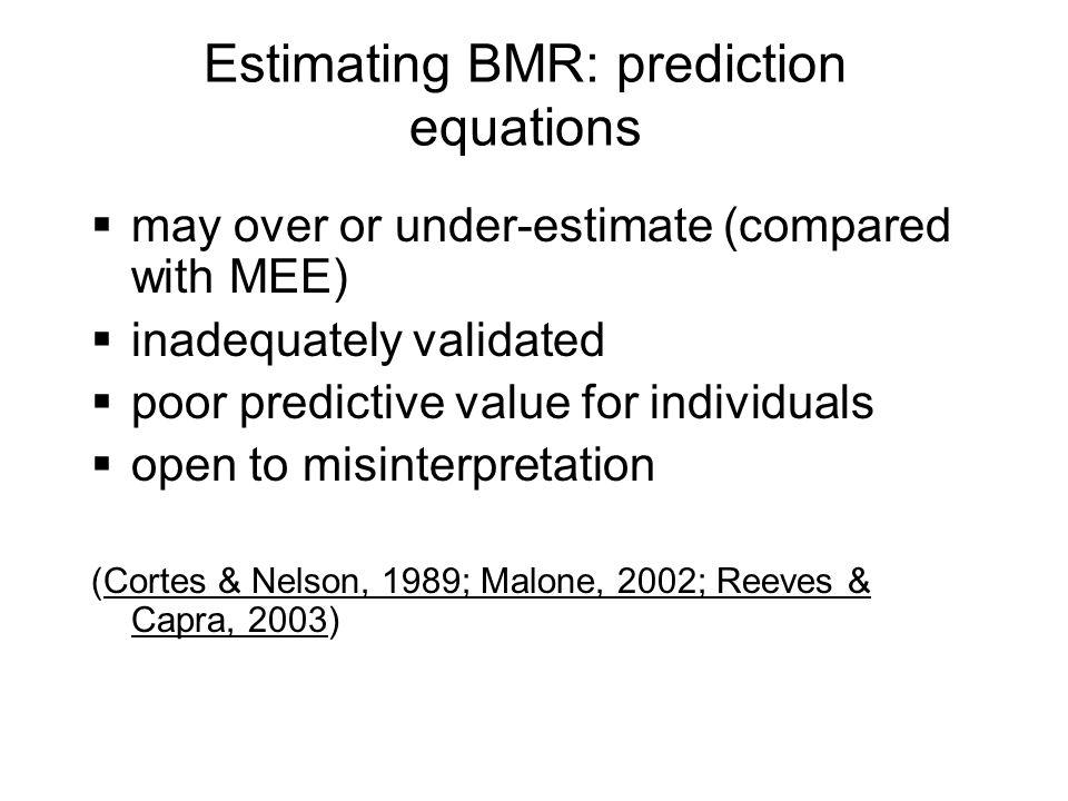 Estimating BMR: prediction equations