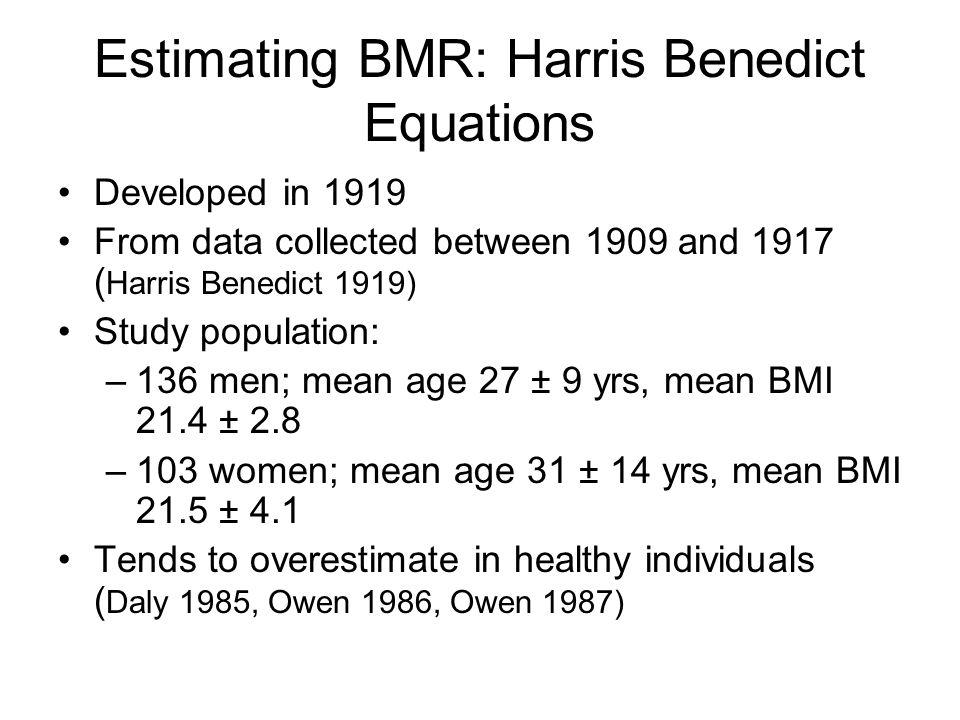Estimating BMR: Harris Benedict Equations