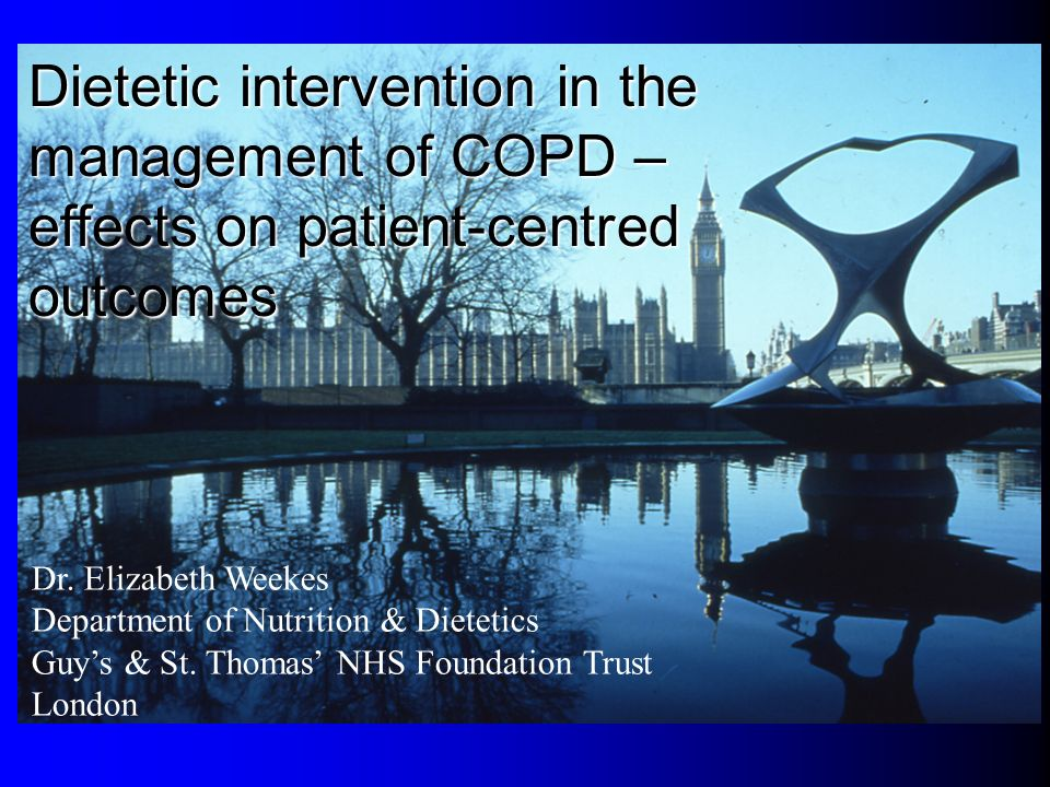 Dietetic intervention in the management of COPD –