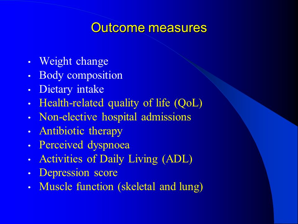 Outcome measures Weight change Body composition Dietary intake