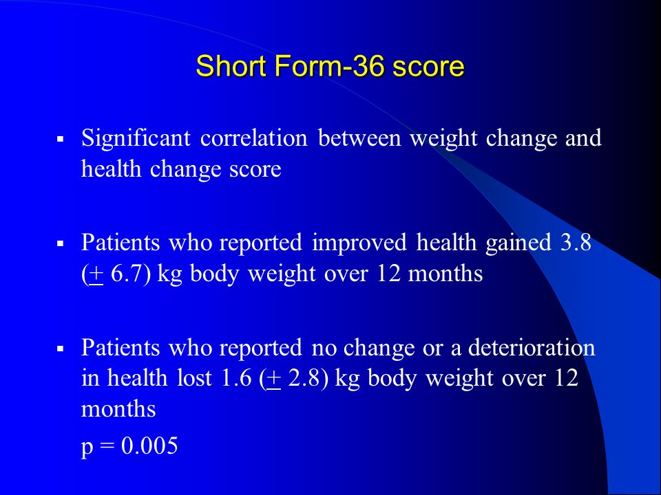 Short Form-36 score Significant correlation between weight change and health change score.
