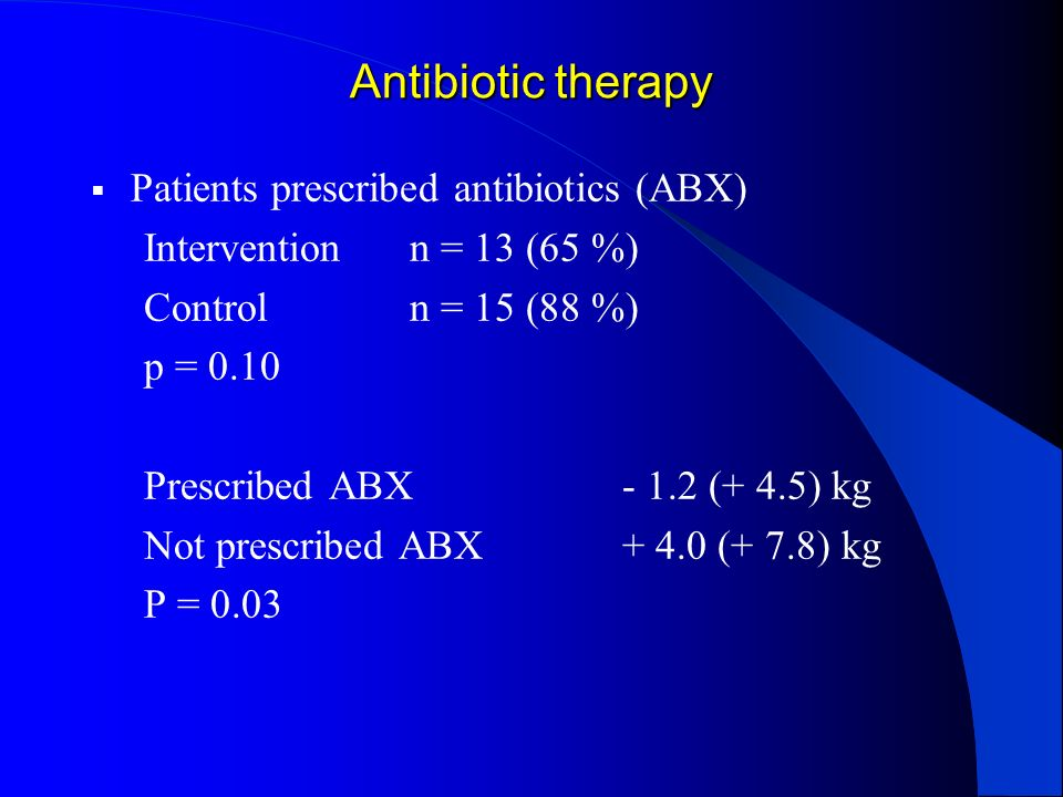 Antibiotic therapy Patients prescribed antibiotics (ABX)