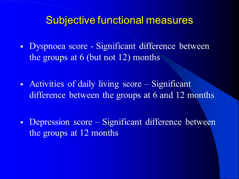 Subjective functional measures