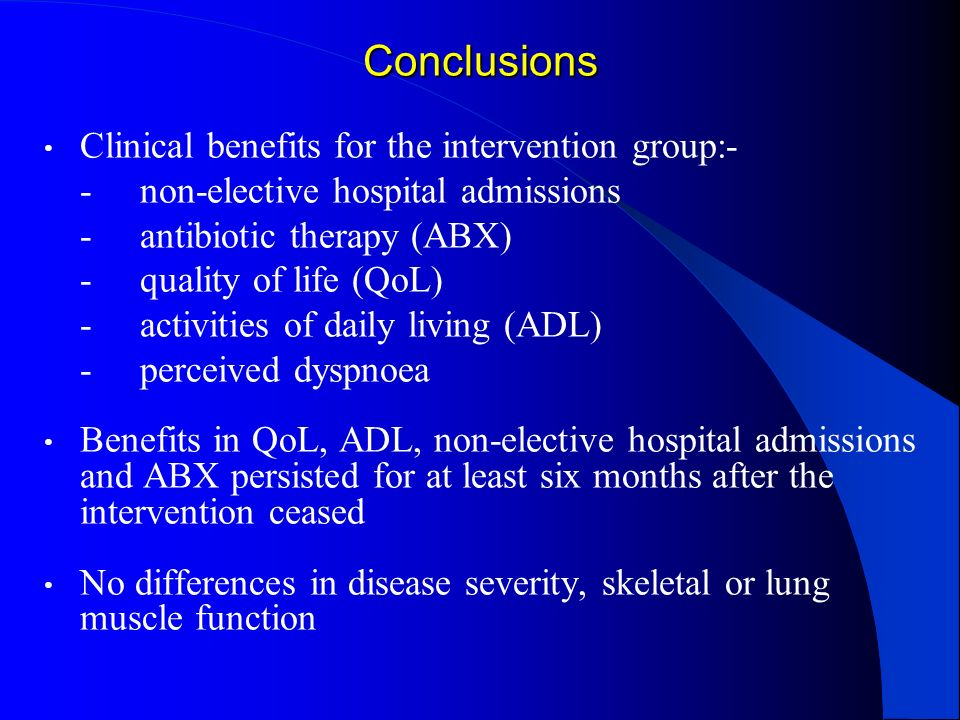 Conclusions Clinical benefits for the intervention group:-