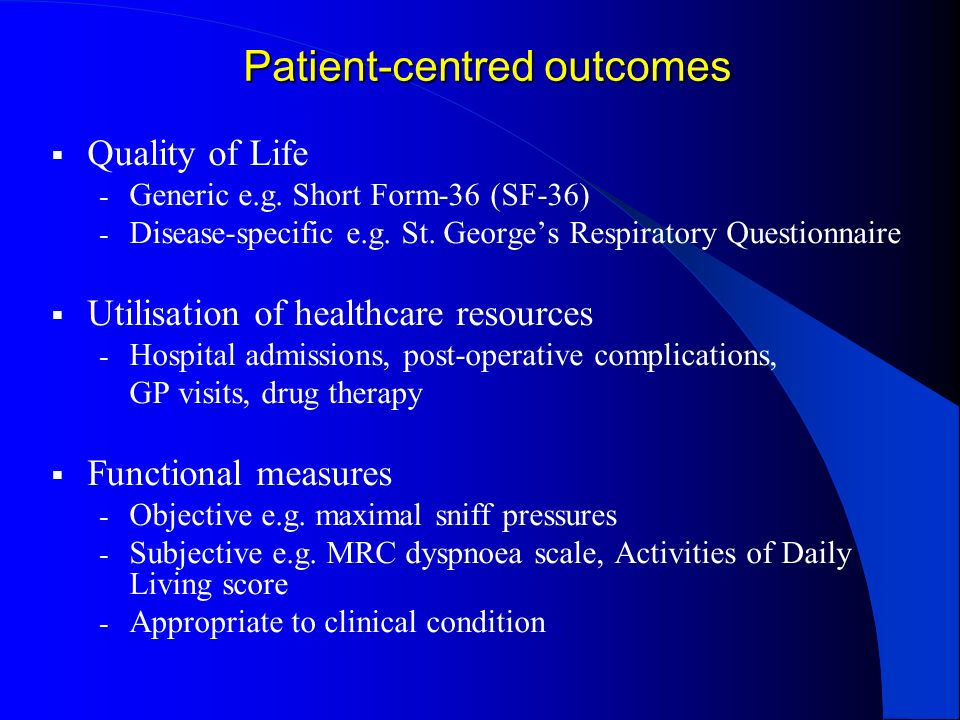Patient-centred outcomes