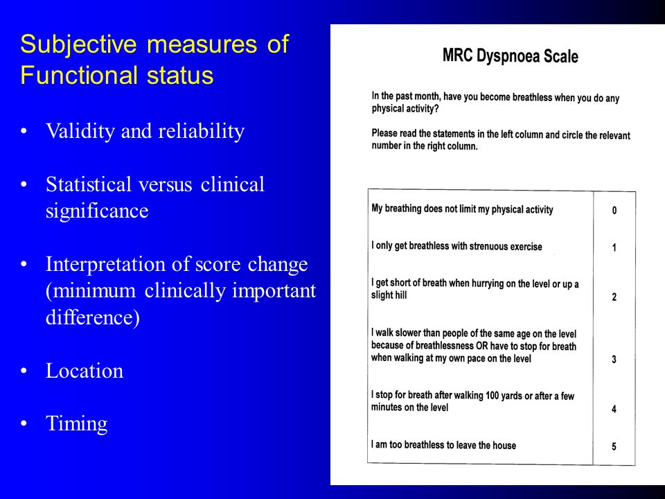 Subjective measures of Functional status