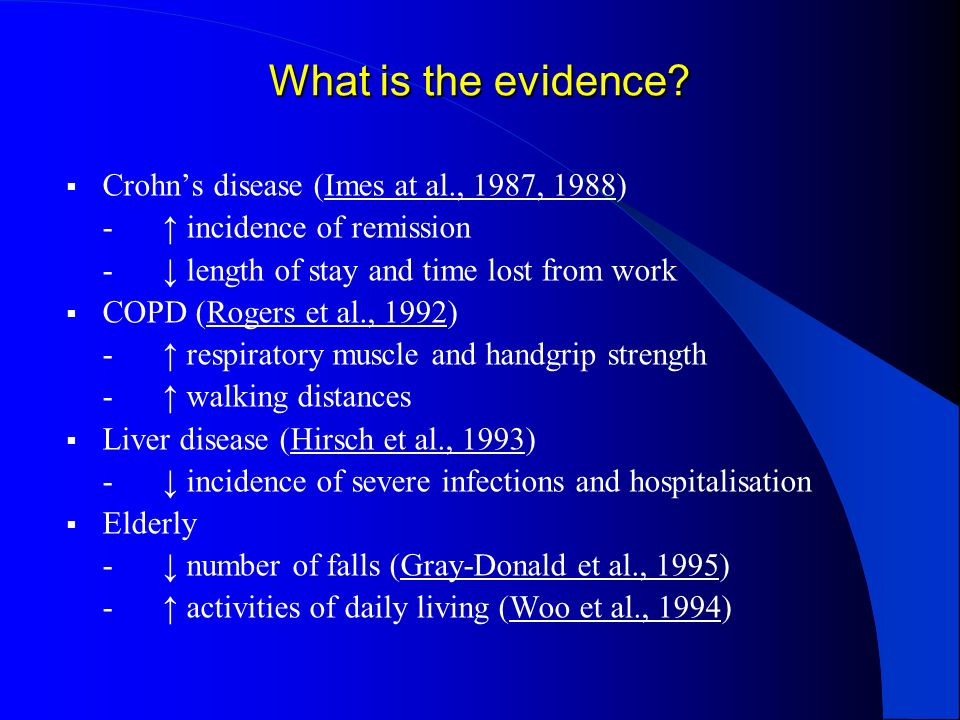 What is the evidence Crohn's disease (Imes at al., 1987, 1988)