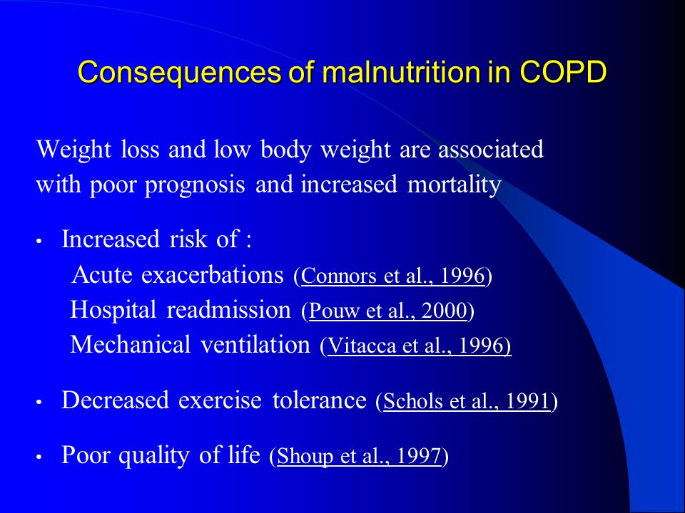 Consequences of malnutrition in COPD
