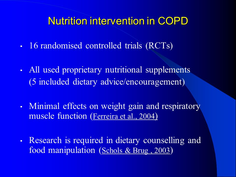 Nutrition intervention in COPD