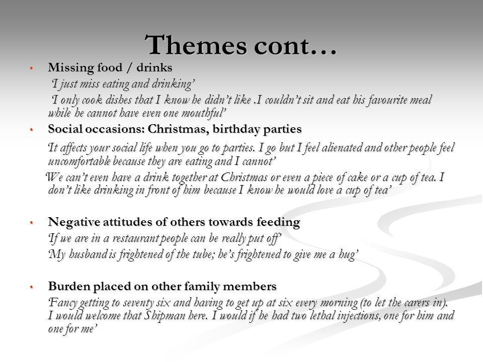 Themes cont…Missing food / drinks. 'I just miss eating and drinking'