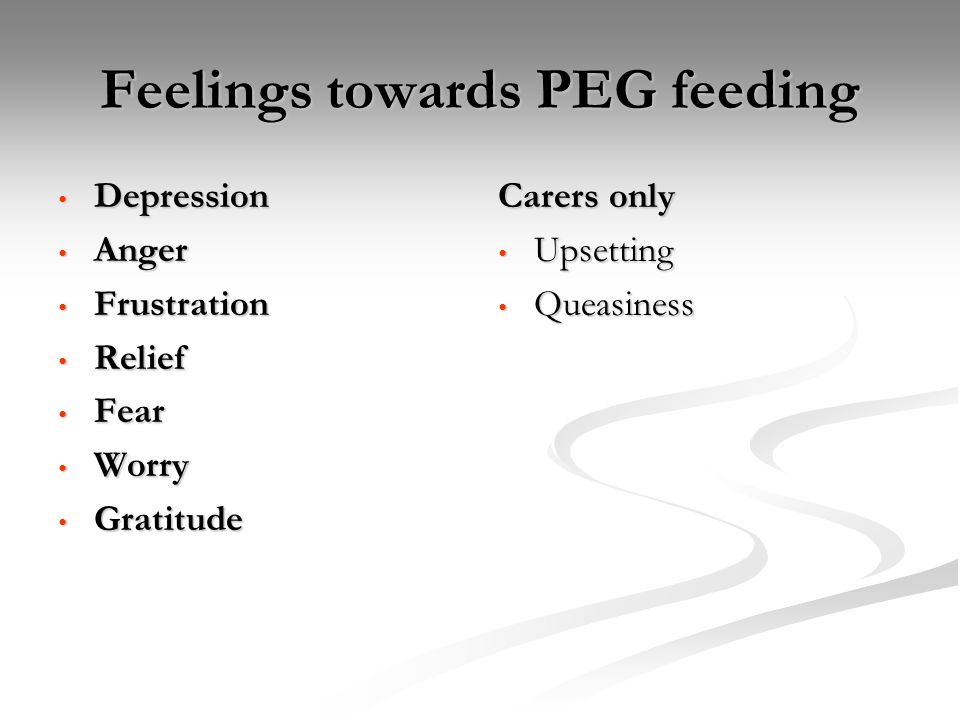 Feelings towards PEG feeding