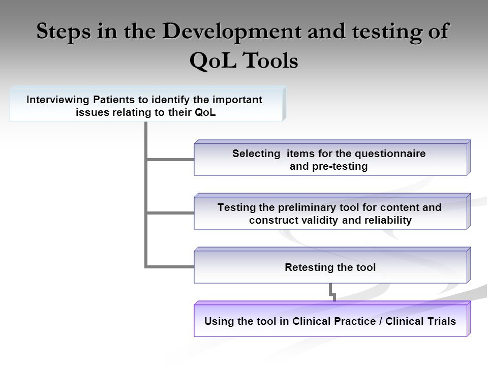 Steps in the Development and testing of QoL Tools