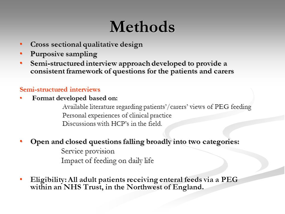 Methods Cross sectional qualitative design Purposive sampling