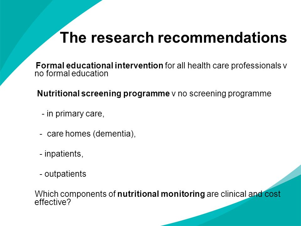 The research recommendations