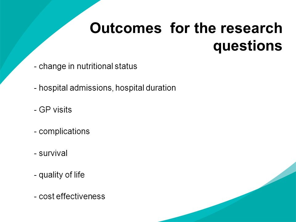 Outcomes for the research questions