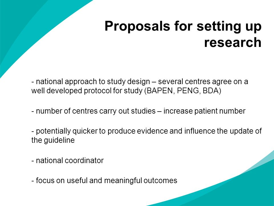 Proposals for setting up research