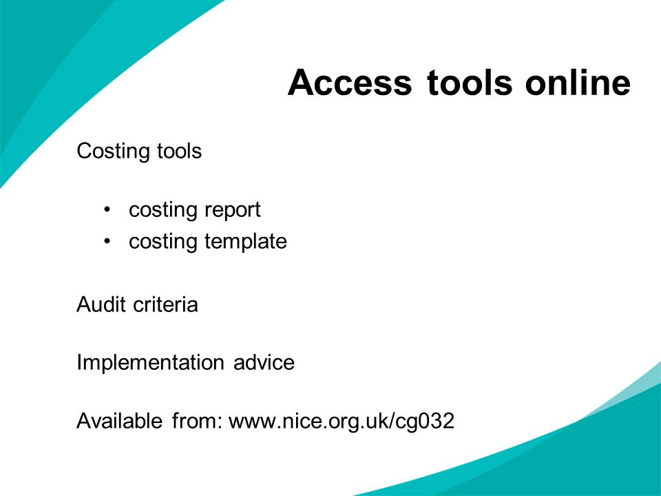 Access tools online Costing tools costing report costing template