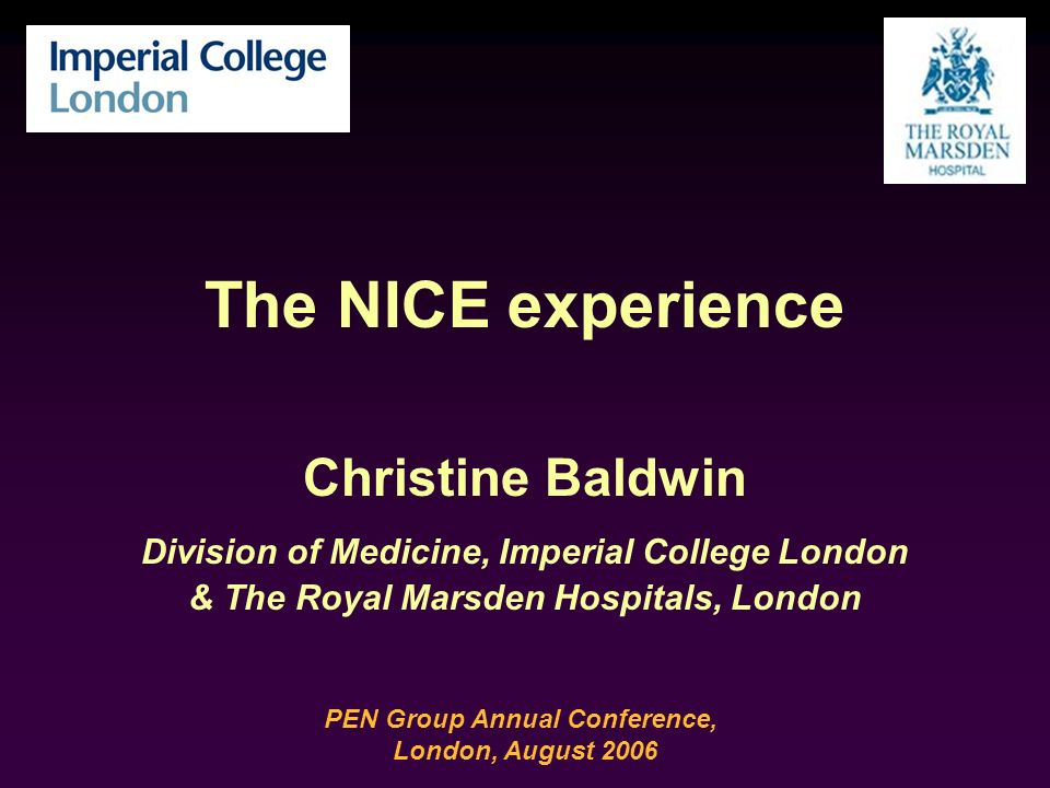 The NICE experience Christine Baldwin