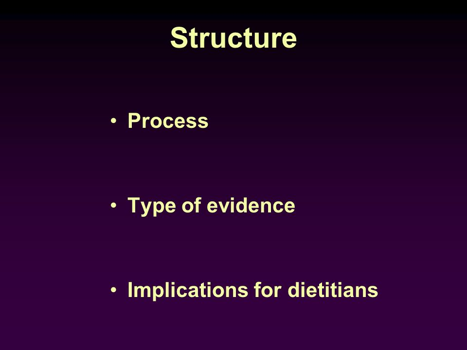 Structure Process Type of evidence Implications for dietitians