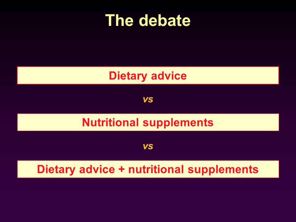 Nutritional supplements Dietary advice + nutritional supplements