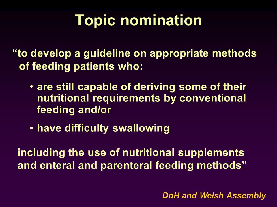 Topic nomination to develop a guideline on appropriate methods of feeding patients who: