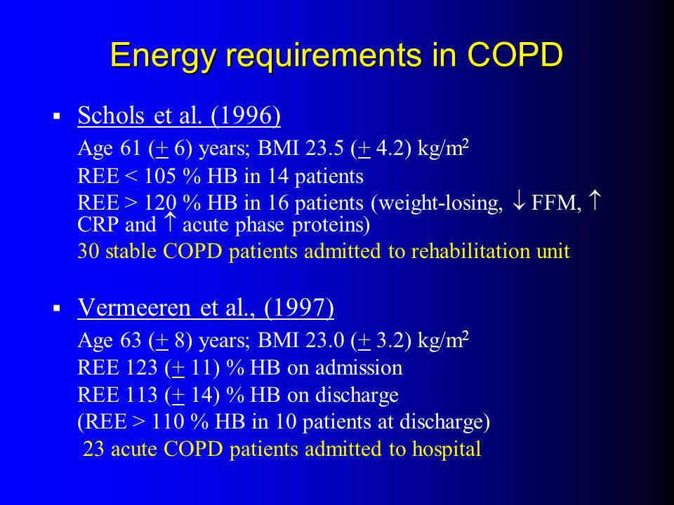 Energy requirements in COPD