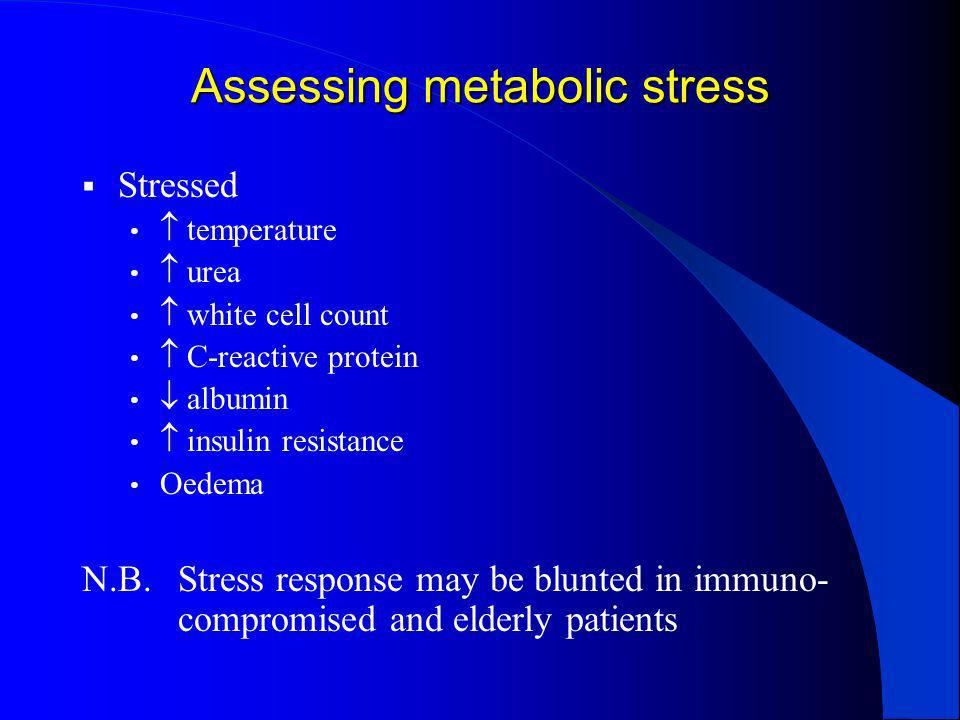 Assessing metabolic stress