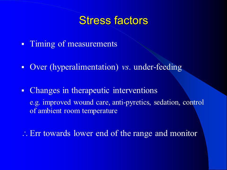 Stress factors Timing of measurements
