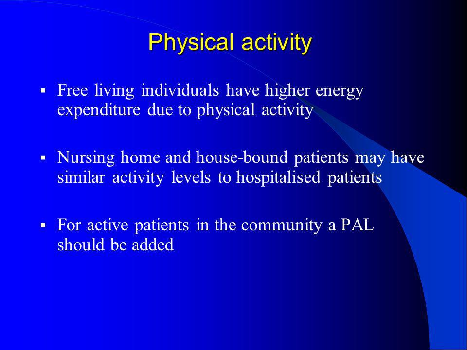 Physical activity Free living individuals have higher energy expenditure due to physical activity.