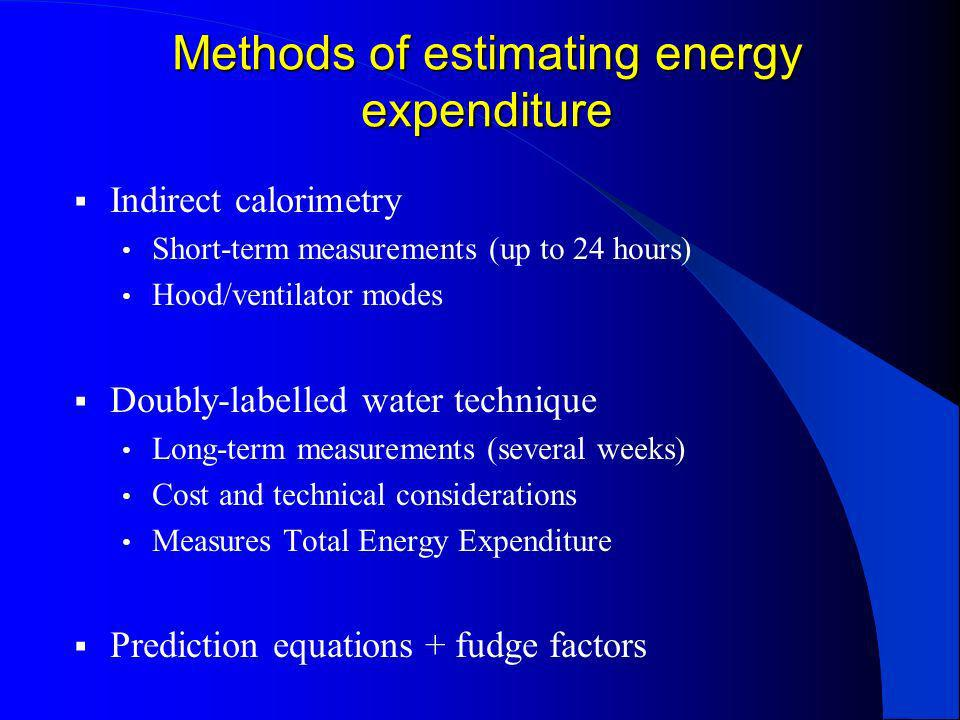Methods of estimating energy expenditure