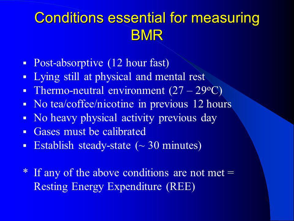 Conditions essential for measuring BMR