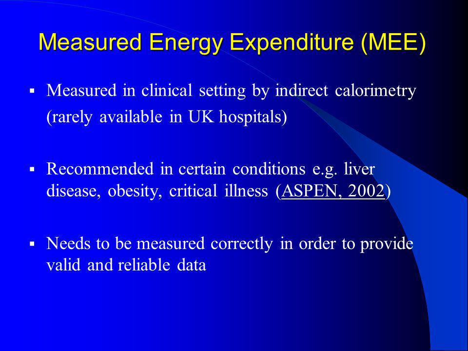 Measured Energy Expenditure (MEE)
