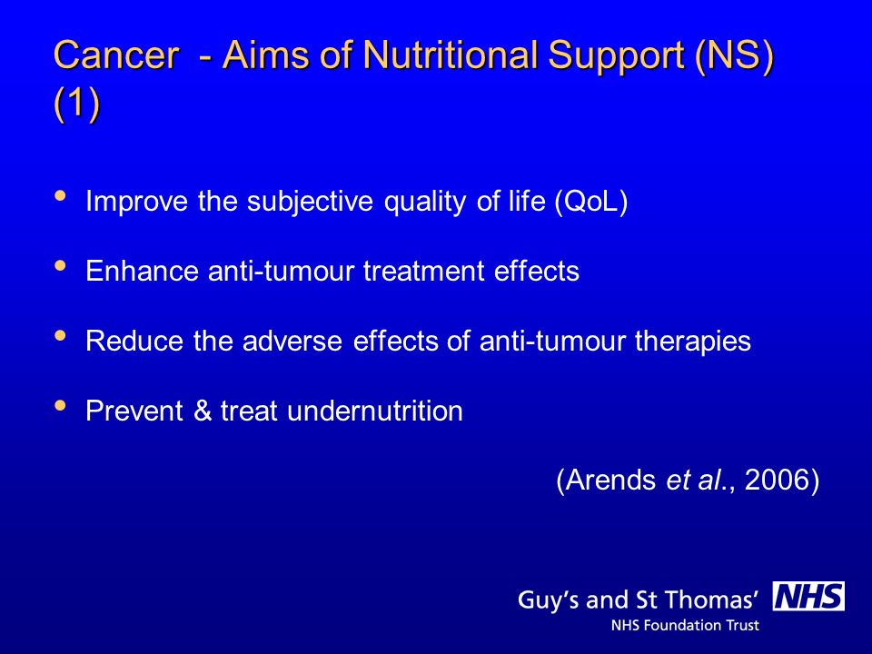 Cancer - Aims of Nutritional Support (NS) (1)