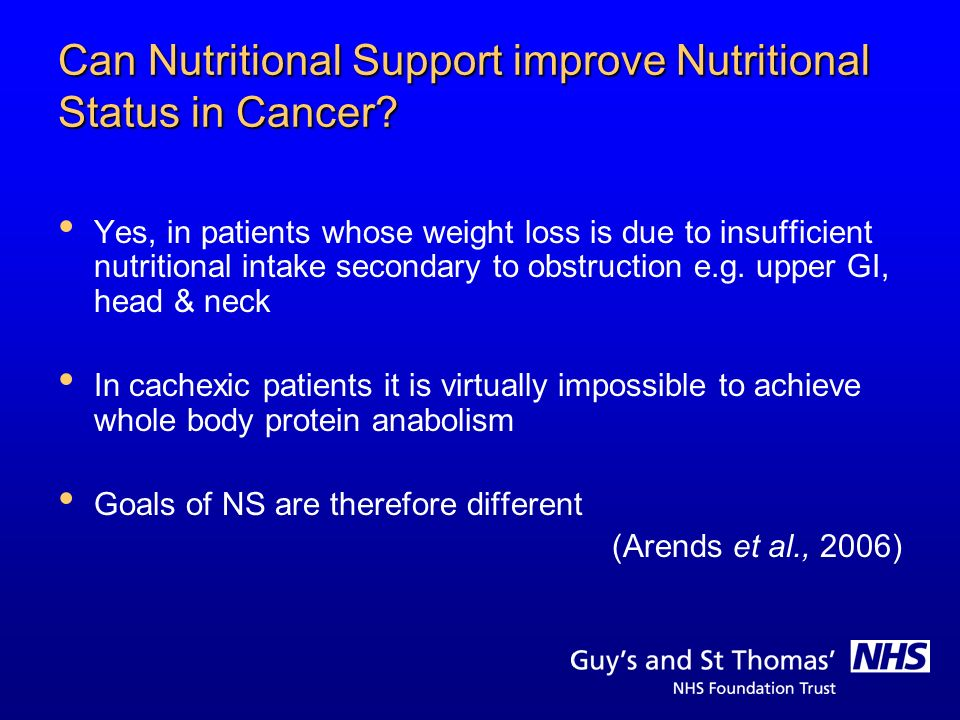 Can Nutritional Support improve Nutritional Status in Cancer