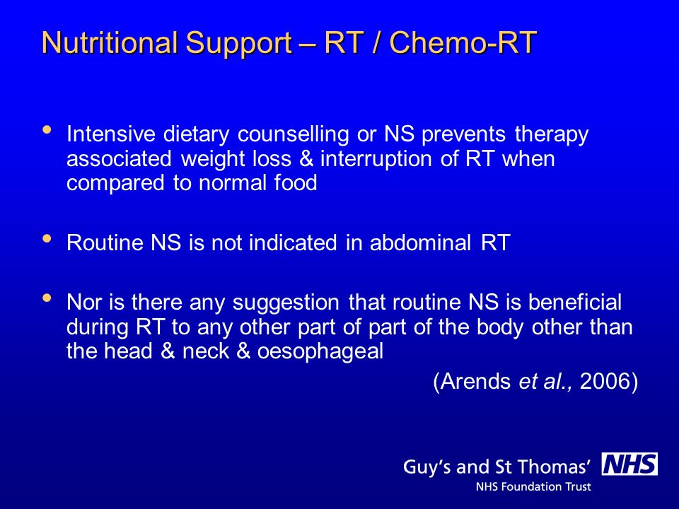 Nutritional Support – RT / Chemo-RT