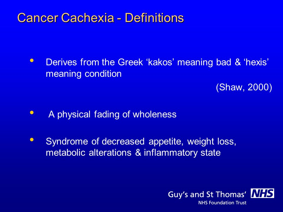 Cancer Cachexia - Definitions