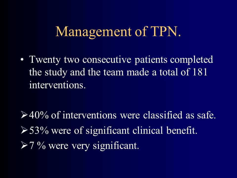Management of TPN. Twenty two consecutive patients completed the study and the team made a total of 181 interventions.