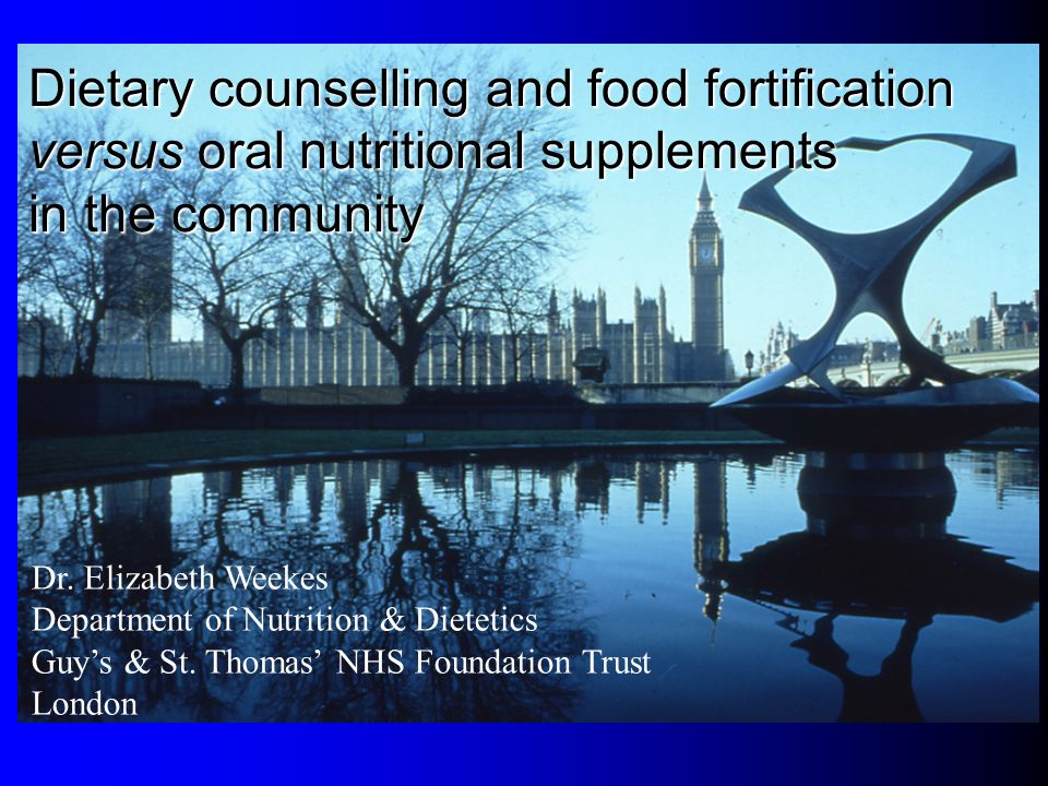 Dietary counselling and food fortification